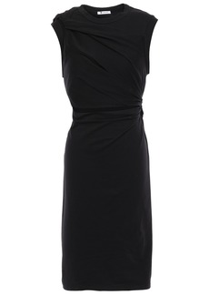 T by Alexander Wang Alexanderwang.t Woman Twist-front Cutout Mélange Cotton-blend Jersey Dress Black