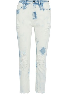 T by Alexander Wang Alexanderwang.t Woman Distressed Bleached Mid-rise Straight-leg Jeans Light Blue