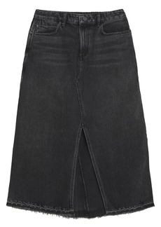 T by Alexander Wang Alexanderwang.t Woman Distressed Denim Midi Skirt Charcoal
