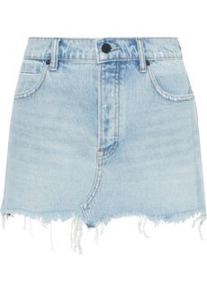 T by Alexander Wang Alexanderwang.t Woman Distressed Faded Denim Mini Skirt Light Denim