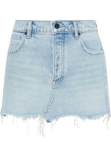 T by Alexander Wang Alexanderwang.t Woman Distressed Faded Denim Mini Skirt Light Denim