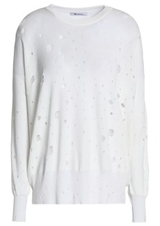 T by Alexander Wang Alexanderwang.t Woman Distressed Terry Sweatshirt White