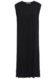 T by Alexander Wang Alexanderwang.t Woman Draped Mélange Jersey Dress Black