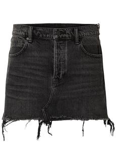 T by Alexander Wang Alexanderwang.t Woman Frayed Denim Mini Skirt Black