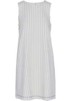 T by Alexander Wang Alexanderwang.t Woman Frayed Striped Basketweave Cotton Mini Dress White