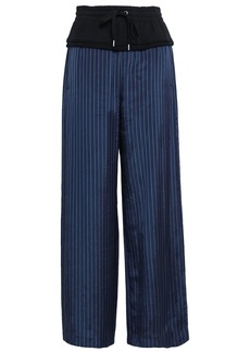 T by Alexander Wang Alexanderwang.t Woman French Cotton Terry-paneled Pinstriped Twill Wide-leg Pants Navy