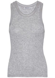 T by Alexander Wang Alexanderwang.t Woman Knitted Slub-jersey Top Light Gray