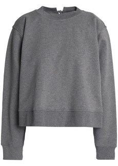 T by Alexander Wang Alexanderwang.t Woman Lace-up French Cotton-terry Sweatshirt Dark Gray