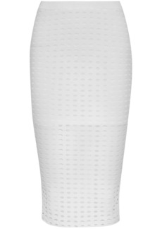 T by Alexander Wang Alexanderwang.t Woman Laser-cut Stretch-jersey Skirt White