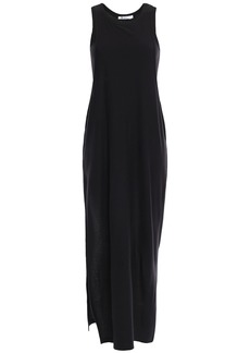 T by Alexander Wang Alexanderwang.t Woman Layered Cotton-blend Jersey Maxi Dress Black