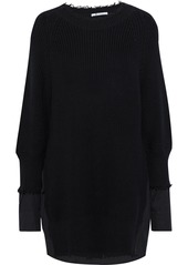 T by Alexander Wang Alexanderwang.t Woman Layered Distressed Ribbed-knit And Cotton-blend Poplin Mini Dress Black