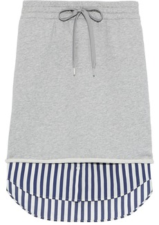 T by Alexander Wang Alexanderwang.t Woman Layered French Cotton-terry And Striped Poplin Skirt Stone