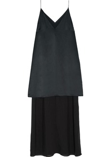 T by Alexander Wang Alexanderwang.t Woman Layered Silk-satin And Crepe De Chine Maxi Dress Black