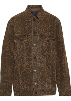 T by Alexander Wang Alexanderwang.t Woman Leopard-print Denim Jacket Animal Print