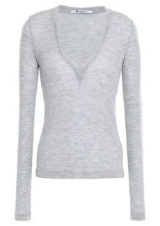 T by Alexander Wang Alexanderwang.t Woman Mélange Ribbed Wool Top Gray