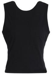 T by Alexander Wang Alexanderwang.t Woman Open-back Twisted Cotton-jersey Tank Black