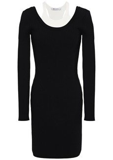 T by Alexander Wang Alexanderwang.t Woman Paneled Ribbed-knit Mini Dress Black
