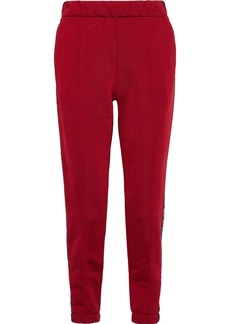 T by Alexander Wang Alexanderwang.t Woman French Cotton-blend Terry Track Pants Claret