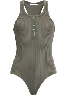 T by Alexander Wang Alexanderwang.t Woman Ribbed Cotton And Modal-blend Bodysuit Army Green