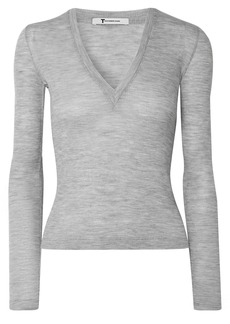 T by Alexander Wang Alexanderwang.t Woman Ribbed Wool Top Gray