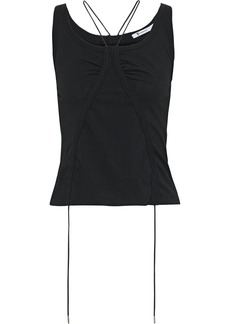 T by Alexander Wang Alexanderwang.t Woman Ruched Mélange Cotton-jersey Tank Black