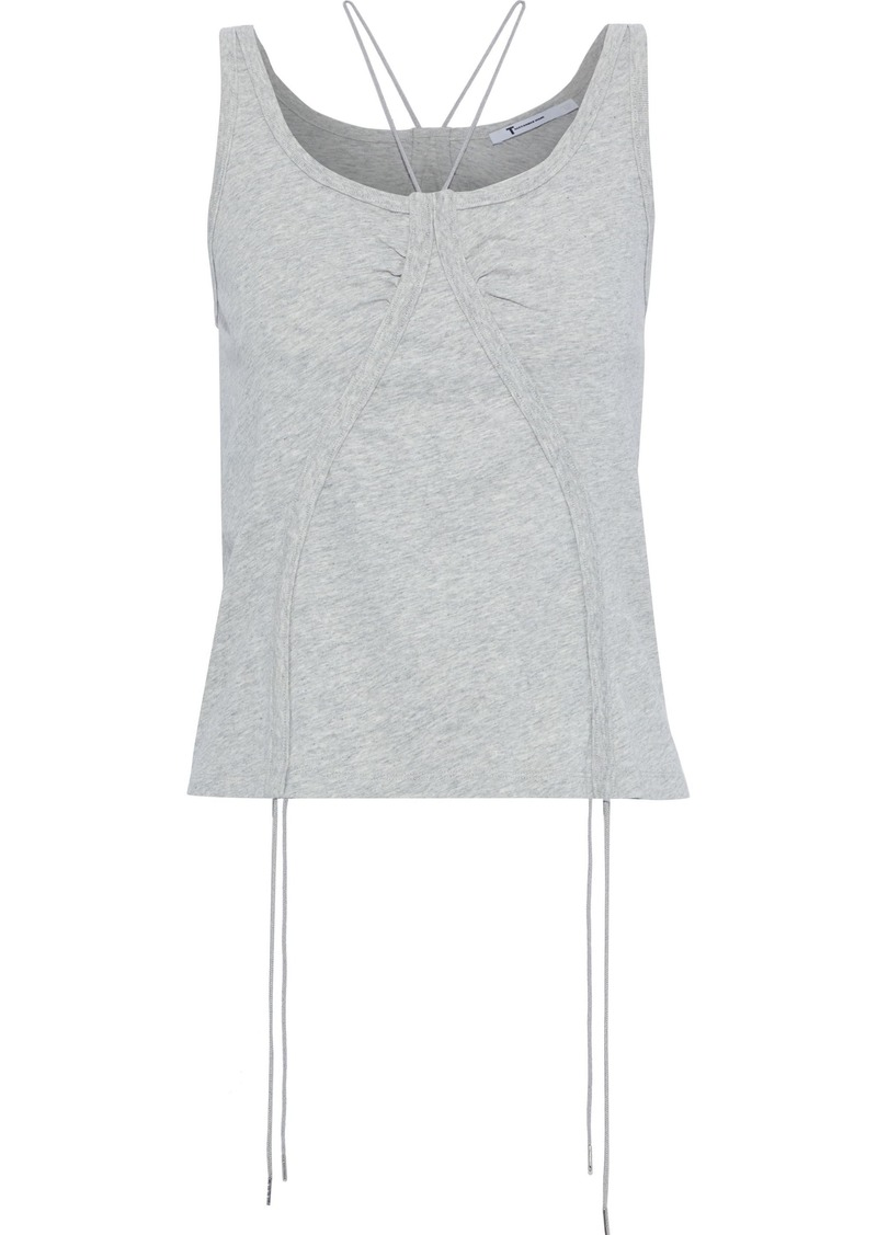 T by Alexander Wang Alexanderwang.t Woman Ruched Mélange Cotton-jersey Tank Stone
