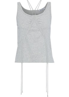 T by Alexander Wang Alexanderwang.t Woman Ruched Cotton-jersey Tank Stone