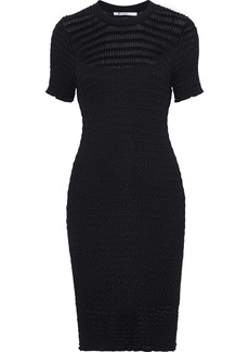 T by Alexander Wang Alexanderwang.t Woman Ruffle-trimmed Wool-blend Cloqué Mini Dress Black