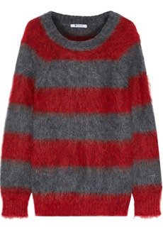 T by Alexander Wang Alexanderwang.t Woman Striped Mohair-blend Sweater Anthracite