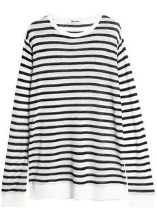 T by Alexander Wang Alexanderwang.t Woman Striped Slub Jersey Top Off-white