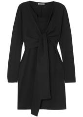 T by Alexander Wang Alexanderwang.t Woman Tie-front Cotton-jersey Mini Dress Black
