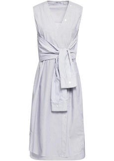 T by Alexander Wang Alexanderwang.t Woman Tie-front Striped Cotton-poplin Dress Blue