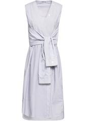 T by Alexander Wang Alexanderwang.t Woman Tie-front Striped Cotton-poplin Dress Blue