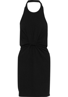 T by Alexander Wang Alexanderwang.t Woman Twist-front Cotton-jersey Mini Halterneck Dress Black