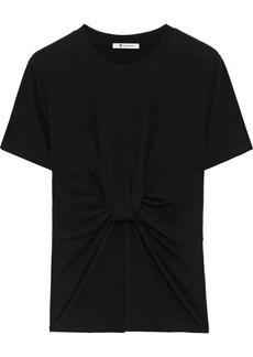 T by Alexander Wang Alexanderwang.t Woman Twist-front Cotton-jersey T-shirt Black