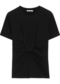 T by Alexander Wang Alexanderwang.t Woman Twist-front Cotton-jersey T-shirt Black