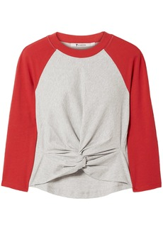 T by Alexander Wang Alexanderwang.t Woman Twist-front Cotton-jersey Top Red
