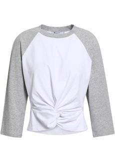 T by Alexander Wang Alexanderwang.t Woman Twist-front Cotton-jersey Top Light Gray