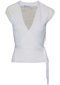 T by Alexander Wang Alexanderwang.t Woman Two-tone Merino Wool Wrap Top Ivory