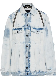 T by Alexander Wang Alexanderwang.t Woman Zip-detailed Bleached Distressed Denim Jacket Light Denim