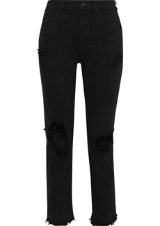 T by Alexander Wang Alexanderwang.t Woman Zip-detailed Distressed Mid-rise Straight-leg Jeans Black