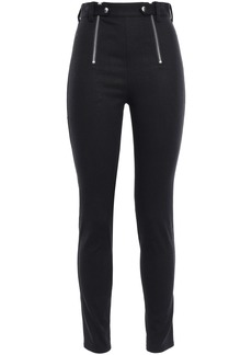 T by Alexander Wang Alexanderwang.t Woman Zip-detailed Woven Skinny Pants Black
