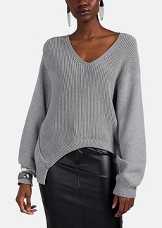 T by Alexander Wang alexanderwang.t Women's Chunky Mixed-Knit Cotton-Blend Asymmetric Sweater