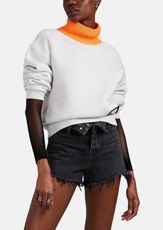 T by Alexander Wang alexanderwang.t Women's Cotton-Blend Fleece Contrast-Turtleneck Sweatshirt