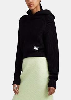 T by Alexander Wang alexanderwang.t Women's Hooded Cotton-Blend Crop Sweater