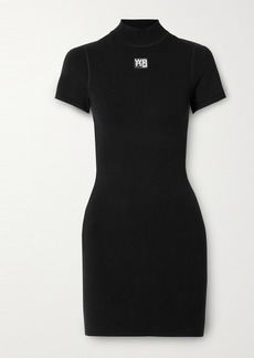 T by Alexander Wang Appliquéd Stretch-knit Mini Dress