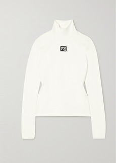 T by Alexander Wang Appliquéd Stretch-knit Turtleneck Top