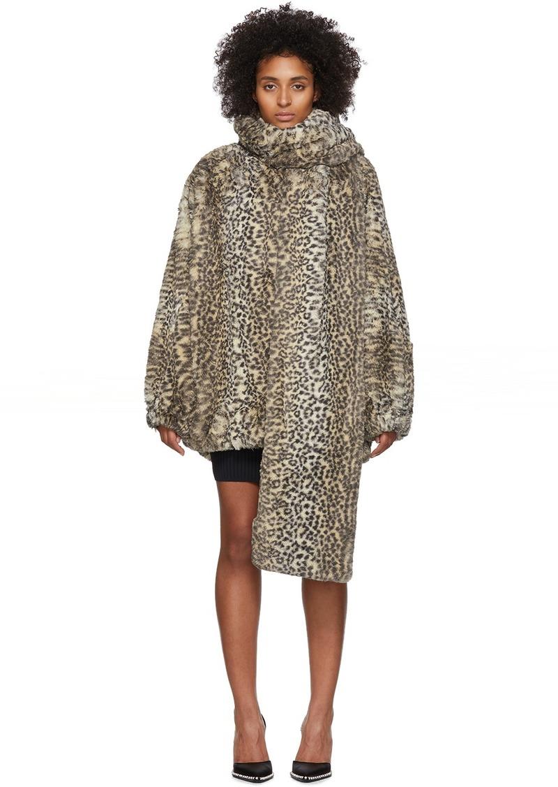 T by Alexander Wang Beige Oversized Cheetah Coat