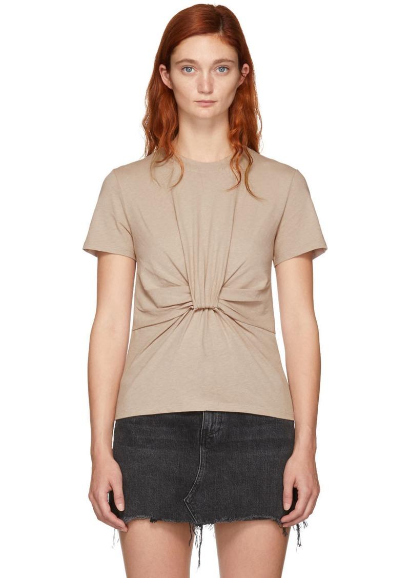 T by Alexander Wang Beige Twist Front T-Shirt