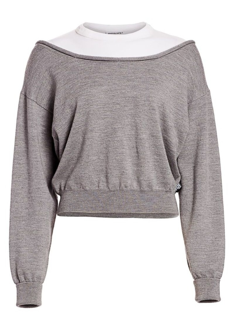 T by Alexander Wang Bi-Layer Cropped Pullover